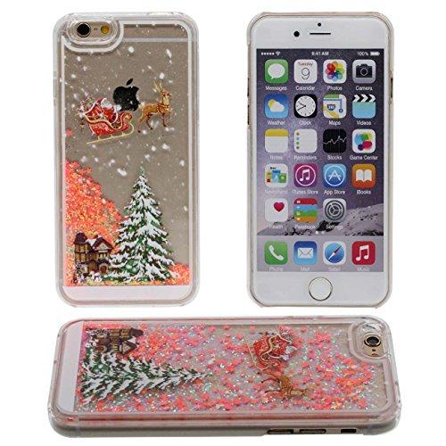 Schutzhülle IPhone 6S Hülle Case, Santa Claus Weihnachten Stil Muster Fließbar Flüssigkeit Wasser Sterne Klar Transparent PC Kunststoff Hart Cover für Apple iPhone 6 6S 4.7 inch orange