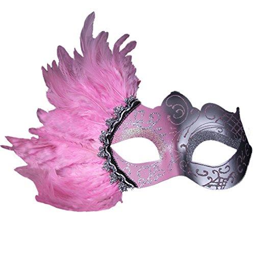 Kostüm Bauta Maske (Prinzessin Maske Sexy Feather Bauta Maske Halbes Gesicht Party Dance)
