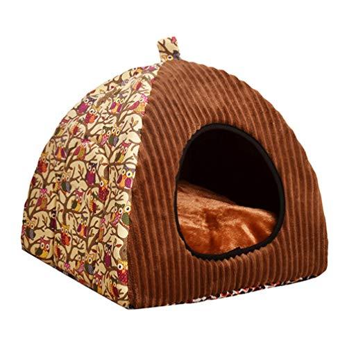 JEELINBORE Gemütliche Hunde Katzen Schlafplätze Katzenhöhle Hundehöhle Kuschelhöhle Katzenkorb Haustierbett (Eule #Gelb, L: 40 * 40 * 40CM)