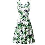 VEMOW Sommer Elegante Damen Frauen Sleeveless Rundhalsausschnitt Druck Sommer Strand Midi Eine Linie Casual Dress Floral Casual Täglichen Party Tank Kleid(Grün, EU-44/CN-XL)
