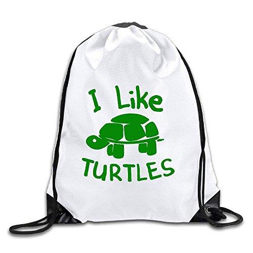 I Like Turtles Polyester Drawstring Backpack Rucksack Shoulder Bags Gym Bag  Home Travel Sport Storage Use e3b22b1e3a