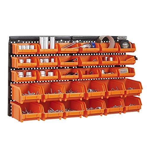 VonHaus 30-teiliges Set Aufbewahrungsboxen mit Wand-Befestigungsplatte (Storage Box Werkzeug-organizer)