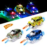 KaliningEU Magic Car (3 Pack) Light Up Track Race Car Toy, 5 Led...