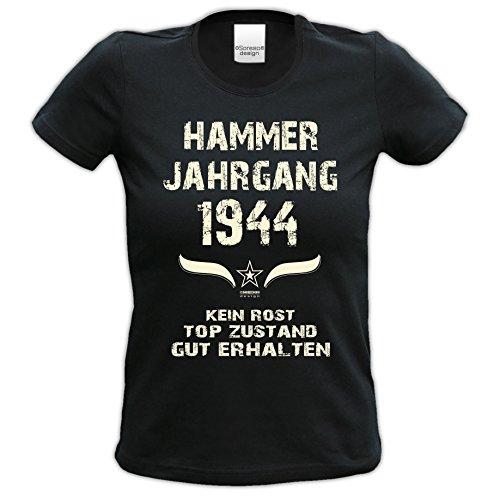 Damen Girlie Kurzarm Jahreszahl Sprüche T-Shirt :-: Geburtstagsgeschenk Geschenkidee für Frauen zum 73. Geburtstag :-: Hammer Jahrgang 1944 :-: Jahrgangs-Aufdruck :-: Farbe: schwarz Schwarz