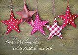Postkarte Frohe Weihnachten Neues Jahr (10 Stck) Stoff-Sterne Weihnachtskarte