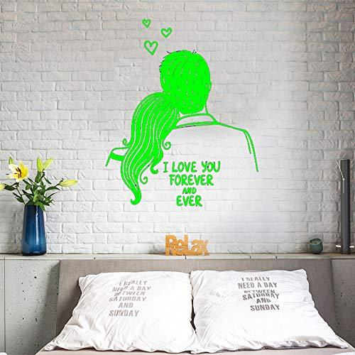Vinyl Kunst Design Poster Wand Romantische Hochzeit Ich Liebe Dich Für Immer Wandaufkleber Paar Muster Kopfteil Schlafzimmer Poster ~ 1 80 * 97 cm -