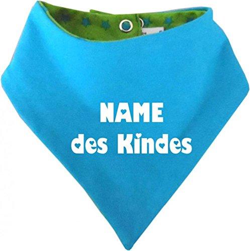 Kinder Wendehalstuch Sternchen (Farbe lime-royal) (Gr. 1 (0-74) mit Namen Ihres Kindes