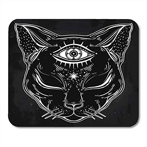AOCCK Gaming Mauspads Black Cat Head Portrait with Moon and Three Eyes Third is Open for Halloween Tattoo 11.8