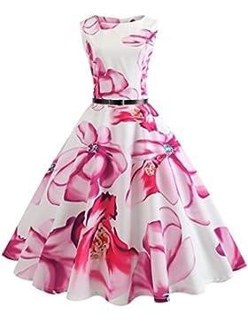 Vestiti estivi lunghi, Vestito anni '50 Donna Elegante Cerimonia Cocktail Floreale Abito in Cotone A-Line Stile...