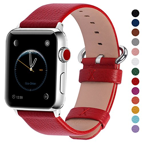 Fullmosa kompatibel mit Apple Watch Armband 42mm/38mm in 15 Farben für iWatch Serie 5/4/3/2/1,Rot 38mm