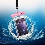 Keynice IPX8 Wasserdichte Tasche Wasserdichte Handyhülle Wasser- und staubdichte Hülle für Iphone 7/ 6 / 6s/ 6plus und andere Geräte bis zu 5.8 Zoll (Rosa)