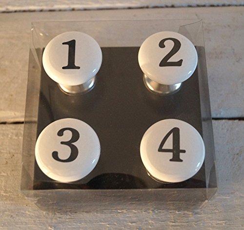 Cottage Mit 3 Schubladen (Möbelgriff 4tlg D4cm Keramik - 1 2 3 4 - schwarz weiss)