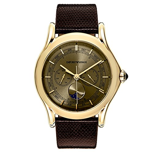 9cd99097e4ad Emporio Armani Swiss Made Men s Swiss Quartz Stainless Steel and Leather  Dress Watch