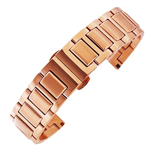 lujo pulsera correa de reloj de 20 mm esmerilado de los hombres en rosa de acero inoxidable de larga duración de oro con hebilla de mariposa