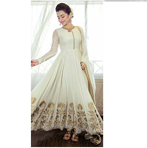Ustaad women's Beautiful Semi-stitched Georgette Anarkali Salwar Suit (white)