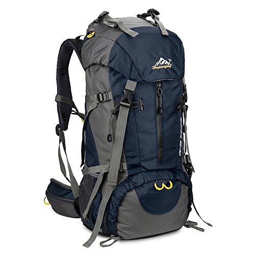 SKYSPER 50L Zaino da Treking, Zaino Impermeabile con Copertura della Pioggia per Viaggio Trekking Escursione Blu scuro
