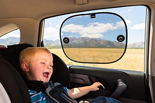 Car Window Shades for Babies (2 Pack) – Premium Car Sun Shade Blocks over 97% of Harmful UV Rays – FREE of Harmful PVC used in Static Cling Shades – Our Car Blinds for Children Protect against Glare & Heat