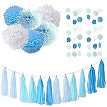 20pcs turquesa azul blanco Gender Reveal parte decoración borla de pañuelos de papel guirnalda pompón de papel de seda guirnalda de círculo para rústico boda Baby Shower, Cumpleaños, Decoración de Guardería/novia ducha decoración