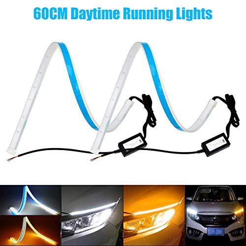 Car Lights Independent Car Styling 2pcs 45cm Car Auto Amber White Sequential Flow Strip Led Flexible Drl Headlight Turn Signal Switchback Light Lamp