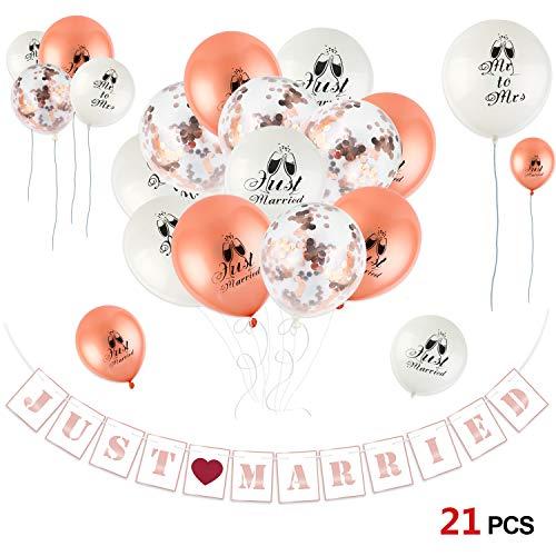 d Just Married Dekorationen, Just Married Banner Girlande und Rose Gold Konfetti Luftballons MR & Mrs Just Married Latexballon für Junggesellinnenabschied, Hochzeits Deko ()