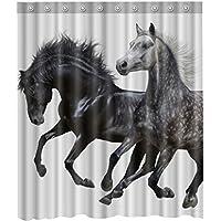 Waterproof mouldproof Cortina de ducha de caballos impermeable, 12 ganchos incluidos, 69 x 213 cm