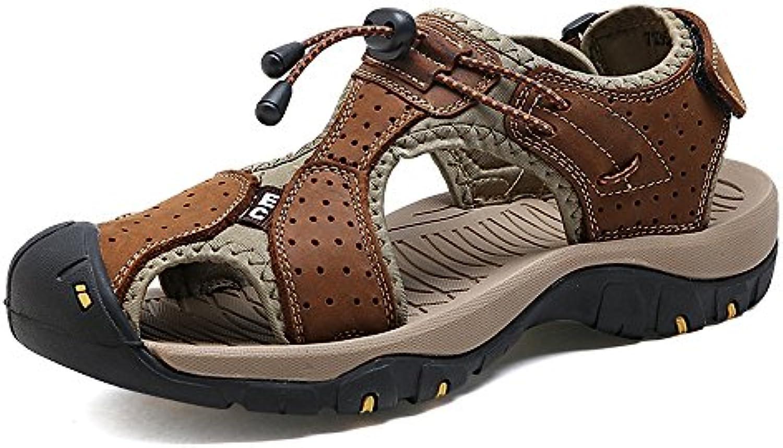 Easy Go Shopping Pantoufles pour Hommes Pantoufles Pantoufles Pantoufles de Plage en Cuir Véritable Sandales Décontractées Perforation... 1b0c43