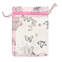 Housweety Beautiful Organza Jewelry Pouch Gift Bag Wedding Christmas Party Favor,25pcs,9cm x12cm (Pink)