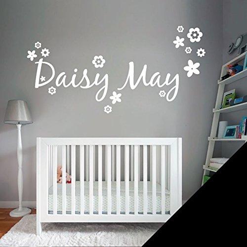 Personalizado Nombre personalizado Texto Adhesivo decorativo para pared con flores-sólo mensaje nosotros con el nombre. -, negro, Large (950x290mm)