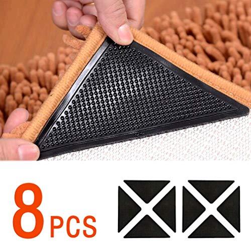 Antirutschmatte für Teppich, 8 Stück Teppichgreifer Waschbar Teppich Ecke Rutschfest Teppichstopper Teppichunterlage Teppich Greifer Starke Klebrigkeit Wiederverwendbar Rutschschutz für Teppich