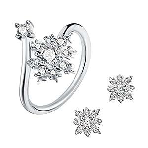 Parure Anello e Orecchini in argento Sterling 925 J.Rosée con Cristalli Perfetto regalo per amore