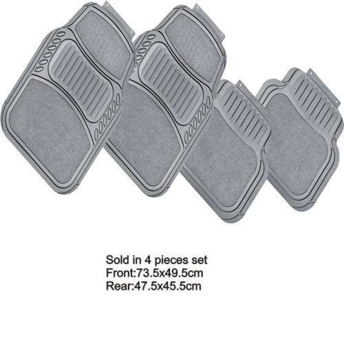 Fußmatten Auto-Fußmatten aus Gummi Teppich und PVC grau Matten Universal Komplettset von 4Stück 2vorne 2hinten waschbar Nicht individualisierte mit pretagli