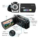 Camera Camcorder, HAMSWAN Full HD Camcorder, 1080P 24MP, 16X Digital Zoom, 3.0 Inch LCD Screen,Portable Anti-shake with 270 Degree Rotation, HDMI Output Night Vision Camera