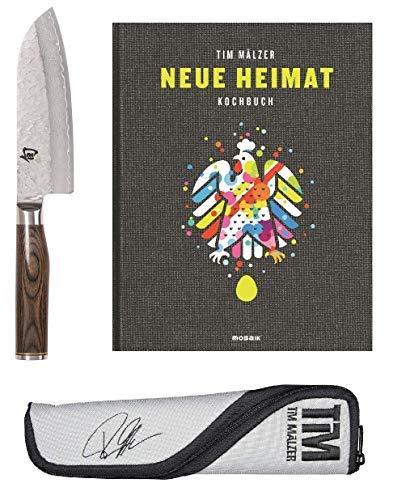 Kai Shun Premier Tim Mälzer 4-TLG.-Angebotsset TDM-W18, ultrascharfes Santoku Damastmesser (TDM-1727) , hochwertige Messertasche, handsigniertes Kochbuch -