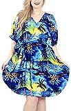 LA LEELA Mujer Kaftan Túnico Impreso Kimono Estilo Más tamaño Vestido para Loungewear Vacaciones Ropa de Dormir & Cada día Cubrir para Arriba Tops Camisolas Playa Azul_J95