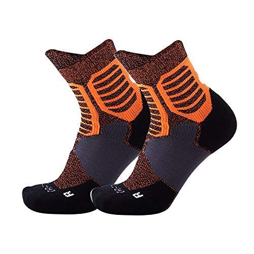 KAJIWWA Männer Athletic Kissen Söckchen Leistung Baumwolle Kompression Sport Basketball Arch Support Socken (Orange) -