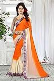 Ankit Fashions Lace Border Georgette Sari in Orange