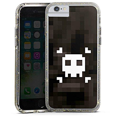 Apple iPhone 6 Plus Bumper Hülle Bumper Case Glitzer Hülle Pixel Piraten Totenkopf Bumper Case Glitzer gold