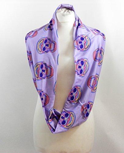 L&S PRINTS FOAM DESIGNS Lila Totenkopf bunt Infinity Schal Jersey oder Chiffon Unisex Fashion Loop