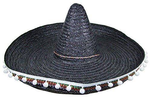 Mexikaner Sombrero für Herren - 60 cm Schwarz - Toller Mexiko Hut für Erwachsene mit Troddeln zum Kostüm