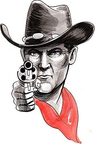 Wild West Man Cowboy with Gun Revolver Watercolor Sketch Artwork Truck Car Bumper Sticker Vinyl Decal 5