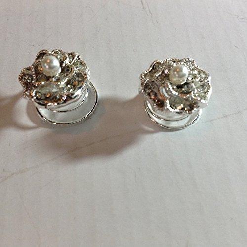 Mytoptrendz® Set von 4Versilbert Kristall und simulierte Perle Rose Flower Swirl Twist Spin Twistern Coil Spirale Haar Pins