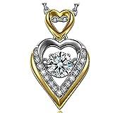 Muttertagsgeschenke Anhänger Halskette Dancing Heart Nur Liebe Damen Kette Silber 925 Anhänger Halskette Schmuck Geschenk für Valentinstag Muttertag Geburtstag Abschluss Verlobung Jubiläum