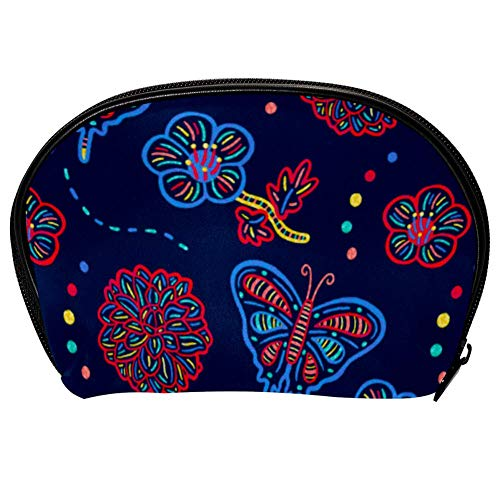 Universal Roomy Handbag Case Makeup Cosmetic Beauty Storage Bags,Facial Cleanser Skincare Kit Pouch Hand Drawn Spring Print,Portable Electronics Accessories Organizer -