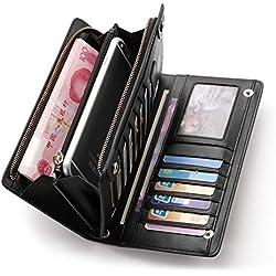 Teemzone Nueva Larga Monedero Billetera de Cuero Genuino para Mujer Tarjetero de Crédito Tarjetas Ranuras Diseño Botón de la Caja del Teléfono (Negro)