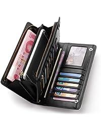 Teemzone Nueva Larga Monedero Billetera de Cuero Genuino para Mujer Tarjetero de Crédito Tarjetas Ranuras Diseño Botón de la Caja del Teléfono