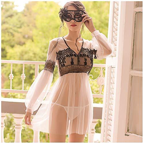 Sexy Fun Inside Kleidung Nacht Feuer DREI-Punkt-Uniform Perspektive Blut Drop Kleine Brust Passion Suit Paare Frauen Supplies Pink (Color : Weiß)