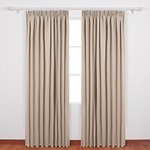 deconovo gardinen blickdicht kruselband vorhang verdunkelung gardinen schlafzimmer 175x140 cm taupe 2er set - Gardinen Im Schlafzimmer