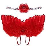 domybest recién nacido bebé niñas disfraz de plumas alas de ángel hada con diamantes de imitación Flores Diademas rojo rosso