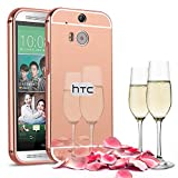 Slynmax Spiegel Metall Bumper Case Hart PC Plastik Rück Cover hülle für HTC One M8 Hülle 2in1 Dual Layer Electroplate Handy Anti-Scratch Case Handyhülle Transparent Crystal Tasche Backcover (Roségold)