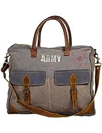Priti Vintage ARMY Design Washed Canvas Handbag Office Handbag Cross Body Bag Messenger Cross Body Shoulder Bag...